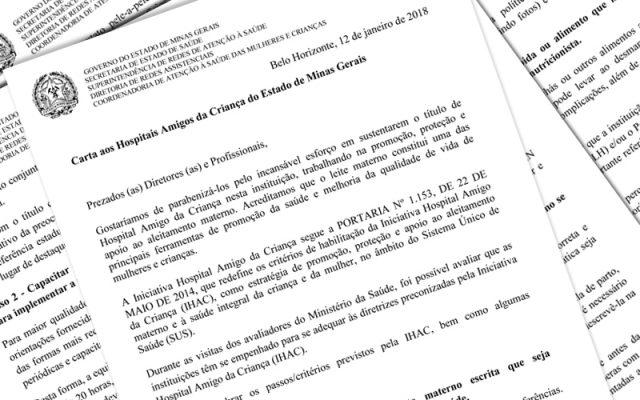 Carta enviada aos Hospitais Amigos da Criança do Estado de Minas Gerais