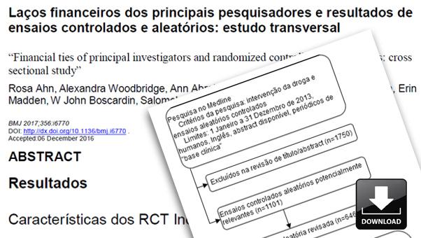 Laços financeiros dos principais pesquisadores e resultados de ensaios controlados e aleatórios