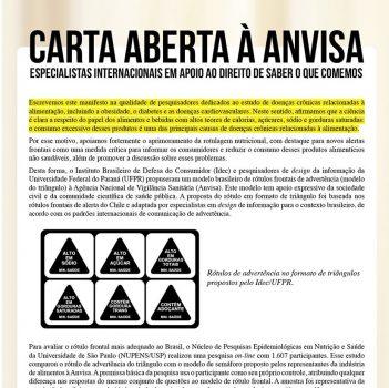 Especialistas internacionais declaram apoio à proposta de rotulagem em formato de triângulo